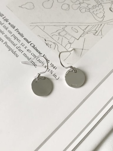 925 Sterling Silver  Smooth Round Minimalist Hook Earring