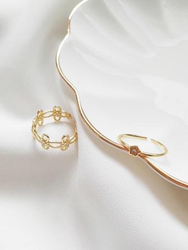 925 Sterling Silver Flower Minimalist Midi Ring