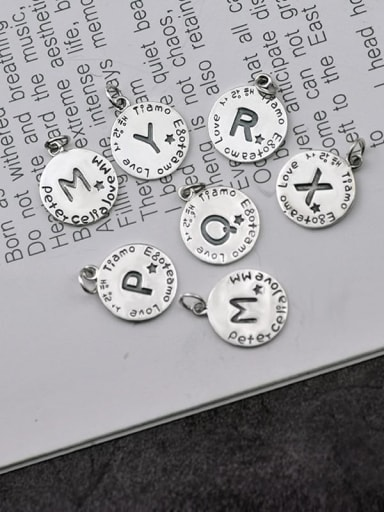 Vintage Sterling Silver With Simple Retro Round Card Alphabet Pendant