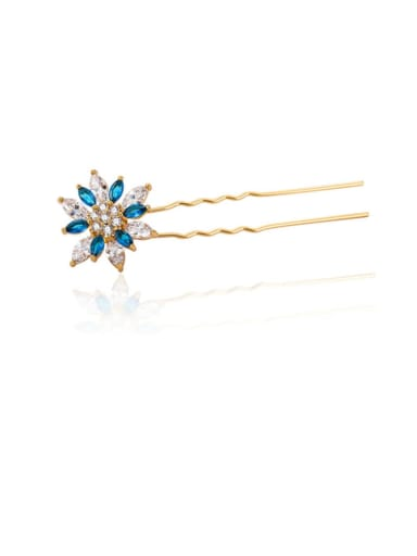 Copper Cubic Zirconia Multi Color Cute Flower Hair Pin