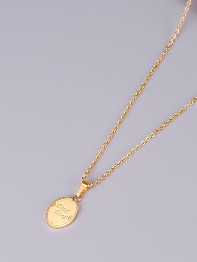 Golden Titanium Letter Good Luck Necklace