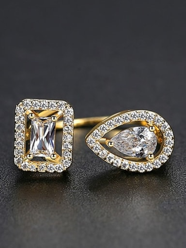 gold Copper Cubic Zirconia  Minimalist  Geometric Band Ring
