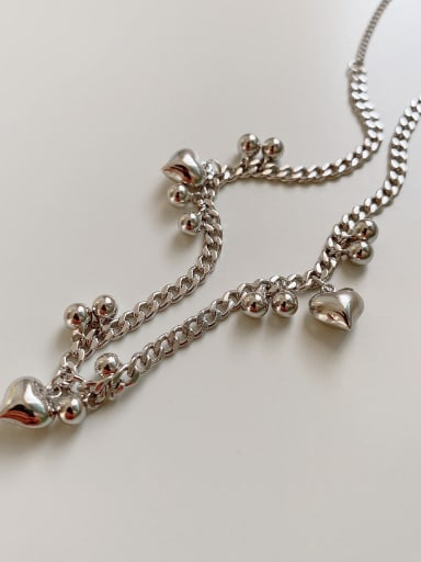 925 Sterling Silver Bead Heart Vintage Necklace
