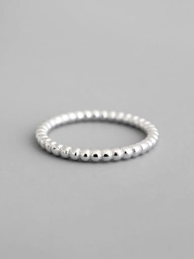925 Sterling Silver Bead White Round Minimalist Midi Ring