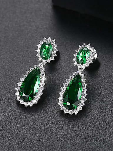 Green corundum t04d18 Copper Cubic Zirconia Minimalist  Water Drop Drop Earring