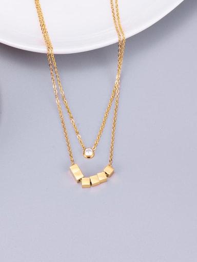 Golden Titanium Smooth  Squares  Necklace