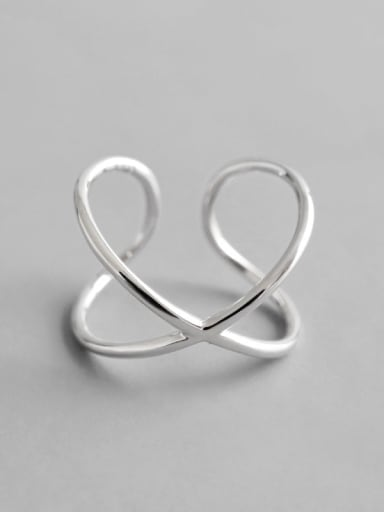 925 sterling silver line crossing minimalist Free Size Band Ring