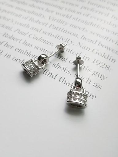925 Sterling Silver Rhinestone  Vintage  Bright Small Lock Stud  Earrings