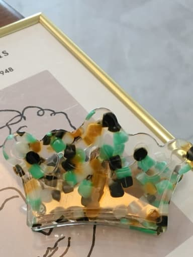 Yellow green wave point Cellulose Acetate Minimalist Geometric Acrylic crown Hairpin ponytail