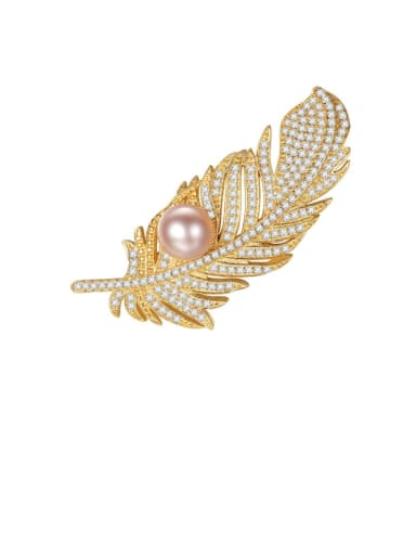 925 Sterling Silver Cubic Zirconia White Leaf Freshwater Pearl  Trend Brooch