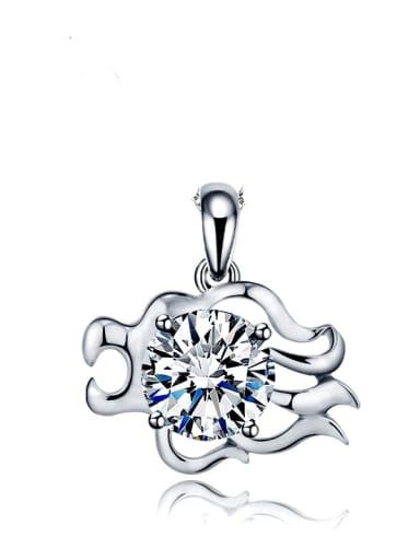 925 Sterling Silver Rhinestone Minimalist Constellation Leo Pendant
