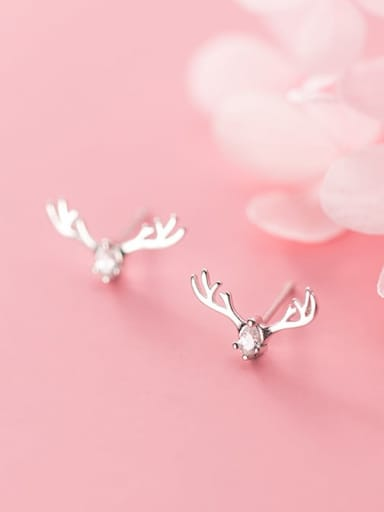 925 Sterling Silver Cubic Zirconia  Fashion Simple Cute Elk Stud Earring