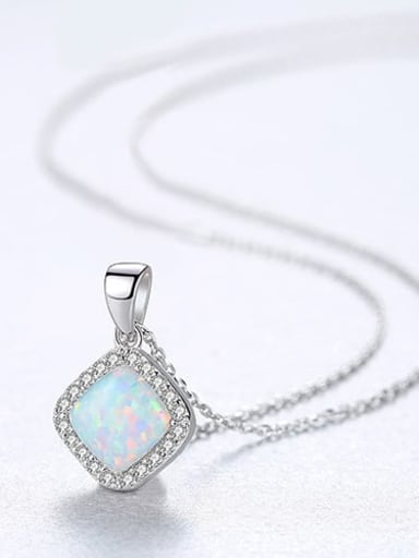 White 20f05 925 Sterling Silver Opal Multi Color Simple square pendant  Necklace