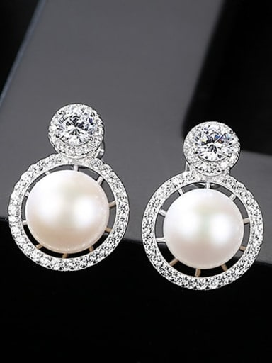 White 1k16 925 Sterling Silver Freshwater Pearl White Round Luxury Stud Earring