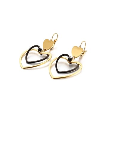 Stainless Steel Hollow  Heart Minimalist Hook Earring
