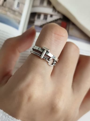 925 Sterling Silver T  Letter Vintage  Free Size Ring