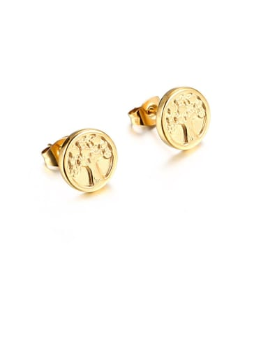gold Stainless Steel Tree Minimalist Stud Earring