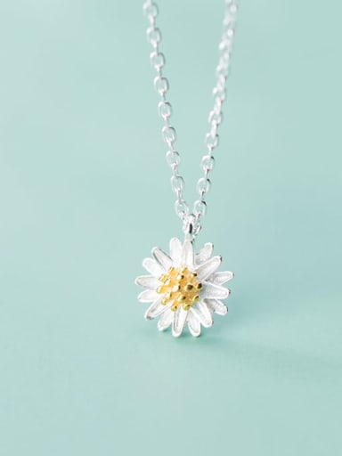 925 Sterling Silver Simple Cute Little Daisy Pendant  Necklace