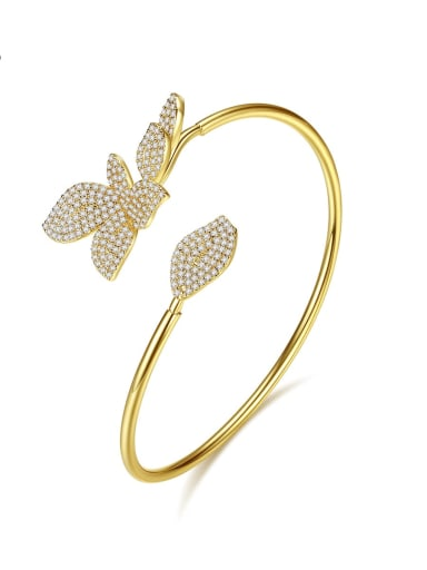 Copper Cubic Zirconia Butterfly Trend Cuff Bangle