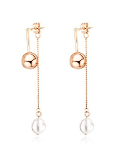 Titanium Imitation Pearl Tassel Minimalist Drop Earring