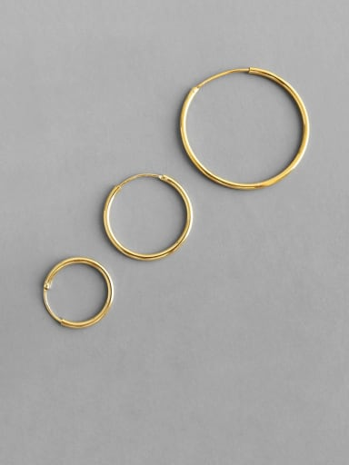 925 Sterling Silver Hollow Round Minimalist Hoop Earring