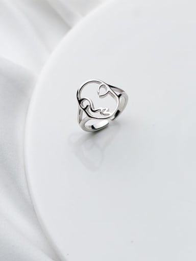 925 Sterling Silver  Minimalist Hollow Face Free Size Ring