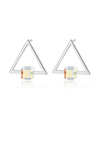925 Sterling Silver Cubic Zirconia Triangle Minimalist Stud Earring