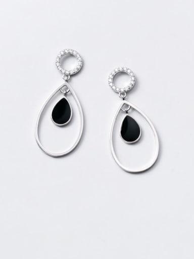 925 Sterling Silver Enamel Water Drop Minimalist Drop Earring