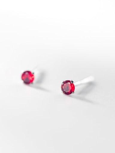 S925 silver pair of Red Diamonds 925 Sterling Silver Rhinestone Round Minimalist Stud Earring