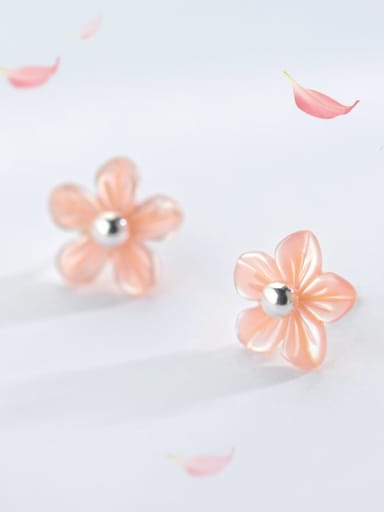 925 Sterling Silver Shell  Minimalist  Pink Peach Earrings Two Ways Of Wearing Stud Earring