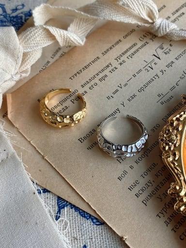 925 Sterling Silver Irregular Minimalist  Wide Profile  Free Size Ring
