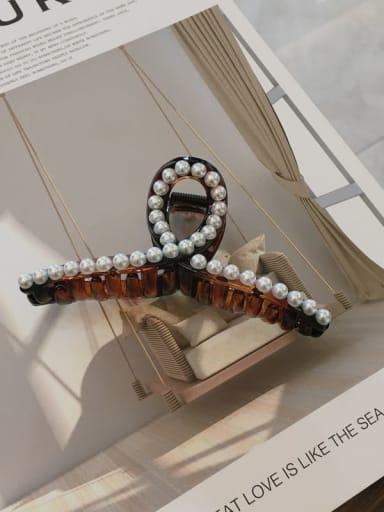 Amber Cellulose Acetate Minimalist Geometric Imitation Pearl Jaw Hair Claw