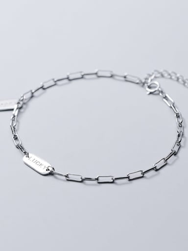 925 Sterling Silver Simple square brand letters LUCKY chain bracelet