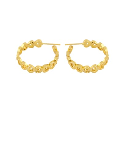 heart-shaped Brass Rhinestone Geometric Minimalist Hoop Earring