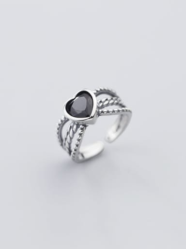 925 Sterling Silver Acrylic Black Heart Vintage Free Size Ring