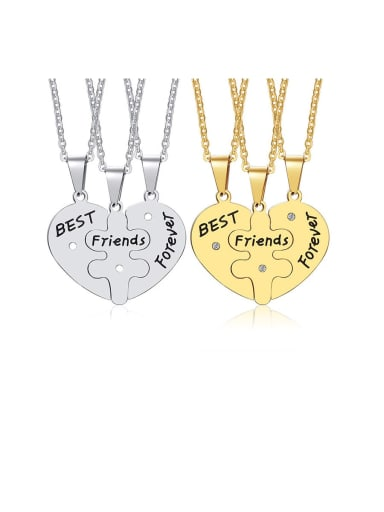 Stainless Steel With Plating gold Simple  Love Pendant Necklaces