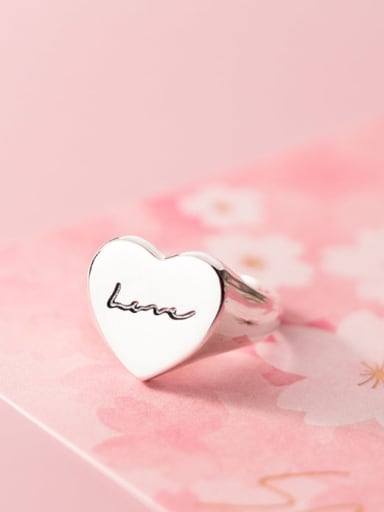 925 Sterling Silver Heart Minimalist Letter Band Ring