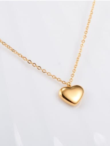 gold Titanium Smooth Heart Minimalist Choker Necklace