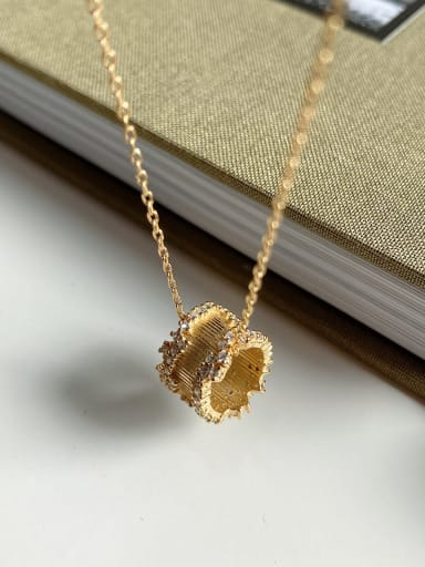 925 Sterling Silver Retro  Gold Rotating Bead Necklace