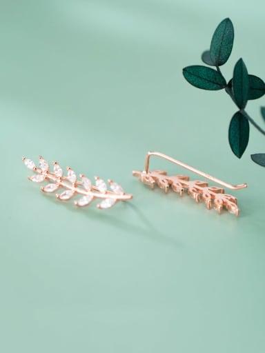 925 Sterling Silver Cubic Zirconia Leaf Dainty Stud Earring