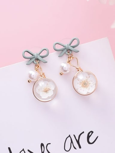D green bow Zinc Alloy Imitation Pearl Multi Color Enamel Bowknot Cute Drop Earring