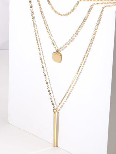 three layers Titanium Cross Minimalist Multi Strand Necklace