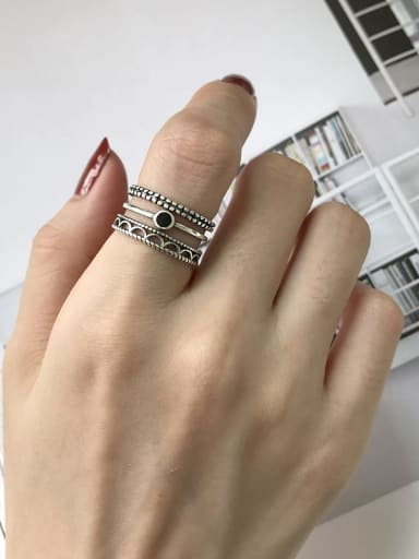 925 Sterling Silver Enamel Black Triangle Artisan Stackable Ring