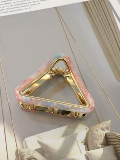 Mermaid  pink Alloy Cellulose Acetate Trend Hollow Triangle Jaw Hair Claw