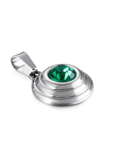 green Stainless Steel Round Glass Stone Multi Color Minimalist Pendant