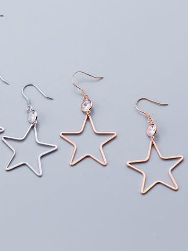 925 Sterling Silver  Hollow Star Minimalist Hook Earring