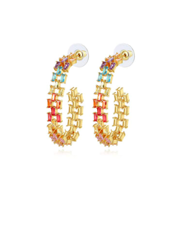Copper Cubic Zirconia Multi Color Square Statement Drop Earring