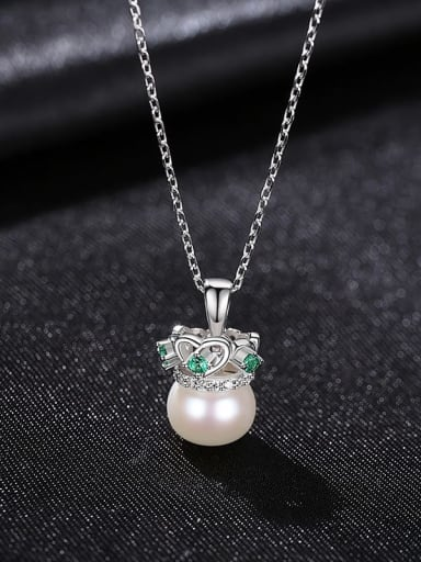 white 8A08 925 Sterling Silver Imitation Pearl Crown Minimalist Necklace