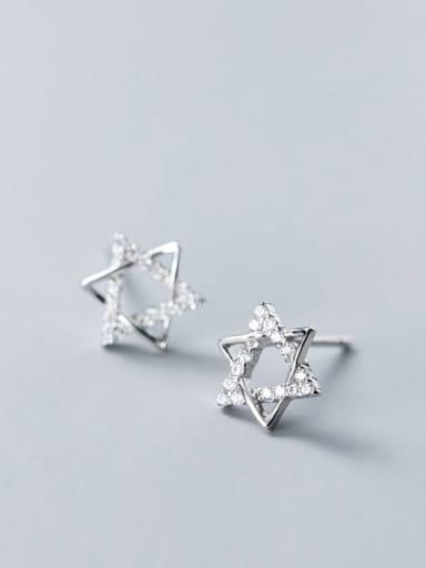 925 sterling silver cubic zirconia  Pentagram minimalist stud earring