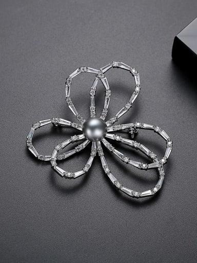 Platinum Copper Cubic Zirconia Flower Minimalist Brooch